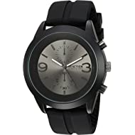 Men's Analog-Quartz Metal Case Stainless-Steel/Silicone Strap Casual Watch