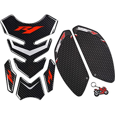 Red Anti Slip sticker,Gas Tank Pad Traction Side,R6 Keychain and Fuel Knee Grip Decal for R6 2008-2015 REVSOSTAR Motorcycle Tank Side Traction Pad