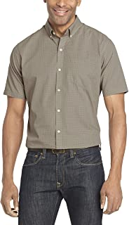 Men's Wrinkle Free Short Sleeve Button Check Down Shirt