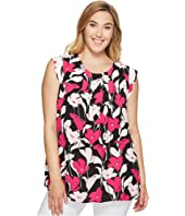 Vince Camuto Specialty Size - Plus Size Sleeveless Front Pleat Flower Wave Blouse