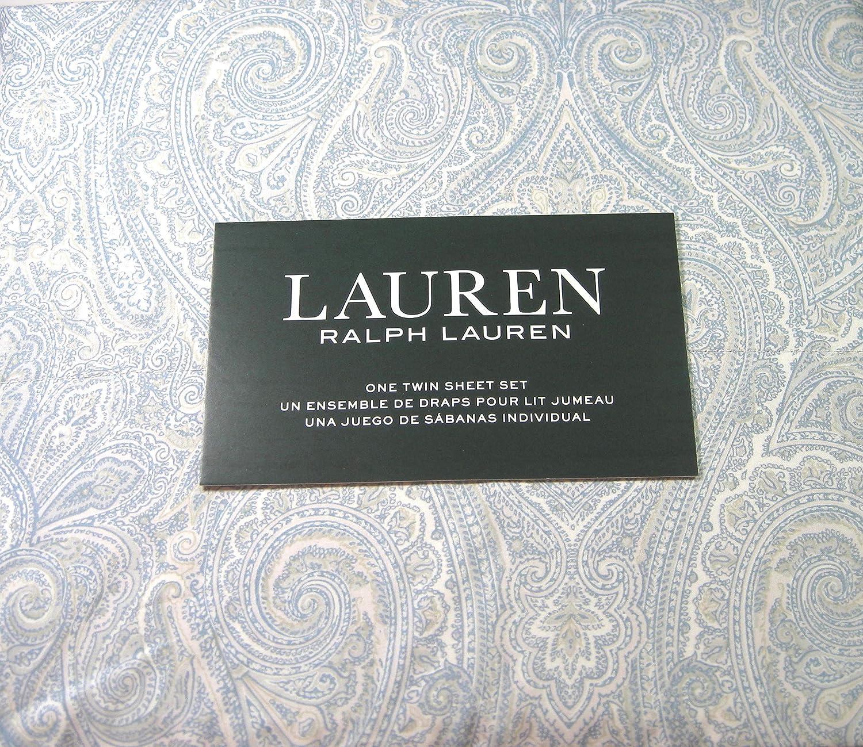 Lauren 3 Piece Twin Size Paisley Sheet Set bluee and White 100% Cotton