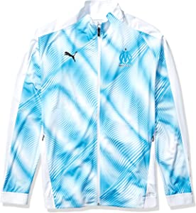 PUMA Men's Standard Olympique de Marseille OM Stadium Jacket Domestic League, White-Bleu Azur, M
