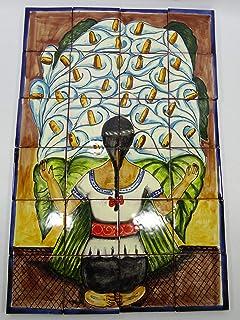 TALAVERA MOSAIC MURAL tile backsplash, Diego Rivera alcatraz flowers painting