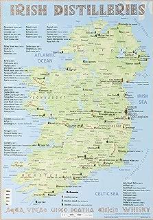 Whiskey Distilleries Ireland - Poster 42x60cm Standard Edition: Irish Whiskey Distilleries Map