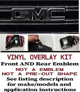 Oracal _ Shop Vinyl Design GMC Front and Rear Emblem Overlay Kit Yukon, Sierra, Denali, Acadia, Terrain - 651 Black Matte - 2 Kits