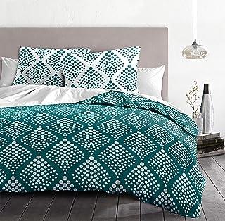 Home Linge Passion 3-Piece Duvet Cover Set - 100% Cotton - 57 Thread Count - Double - 240 x 260 cm - Fibula Imperial Green