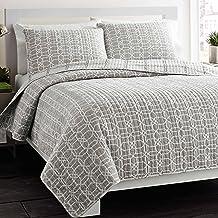 City Scene Puzzle Reversible Cotton Quilt Set, Twin, Gray