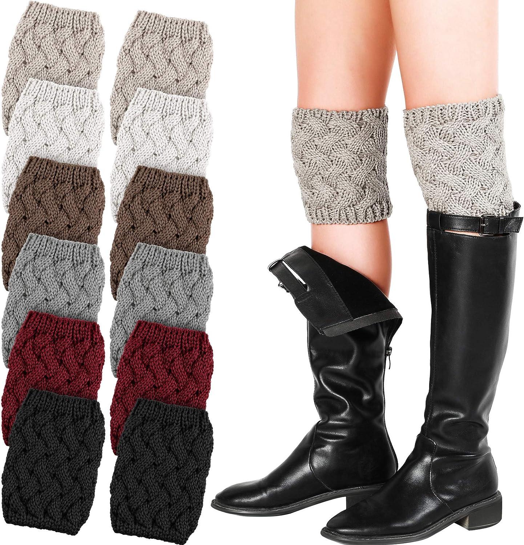 6 Pairs Women Boot Cuffs Crochet Knitted Short Leg Warmers Winter Warm Boots Topper Socks for Women Girls