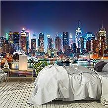 murimage Fotobehang New York 366 x 254 cm inclusief lijm Manhattan Skyline Behang USA Nacht Office Woonkamer Slaapkamer ha...
