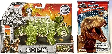 Jurassic World Roarivores Sinoceratops (Pachyrhinosaurus) Action Figure + One Play Pack Grab & Go! Coloring Book. Set of 2 Items.