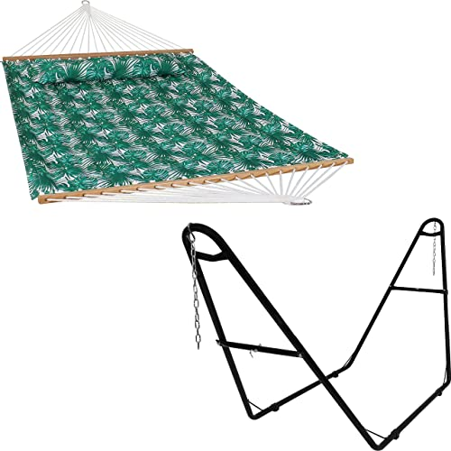 wholesale Sunnydaze Green Palm Leaves 2-Person Quilted Printed Fabric Spreader Bar Hammock and Pillow with S wholesale Hooks and Hanging Chains and 450-Pound popular Capacity Black Heavy-Duty Steel Hammock Stand Bundle outlet online sale