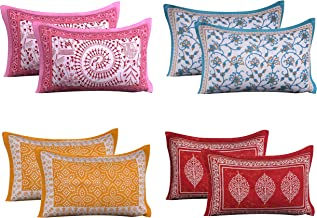 "RRC 100% Cotton 8 Piece Pillow Covers Set - 18"" X 27"", Set of 4 Pair, Multicol (Light)"