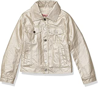 Girls Printed Faux Leather Jacket