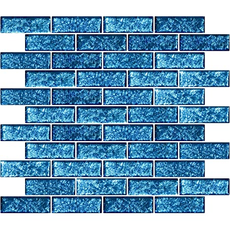 15-1 inch SAPPHIRE BLUE Glitter Glass Mosaic Tiles