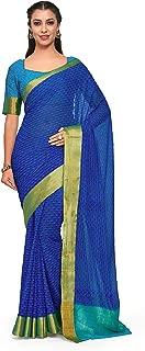Kupinda Art Kalamkari Prints Saree with ikkat, pochampally and Kanjivaram Print Pattren ith Contrast Blouse Color: Blue (4242-C4-SALN-17-RBL)