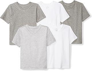 Moon and Back Girls` Infant Set of 5 Organic V-Neck Short-Sleeve T-Shirts
