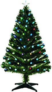 Festive 150cm Fibre Optic Tree with Cone Multicolour LED Lights, Vinyl Green, 150 cm