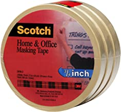 Scotch Brand FBA_3436-3 Scotch(R) Home and Office Masking Tape 3436-3, 3/4-inch x 60 Yards, 3 Pack, 1-Pack, Tan, 3 Count