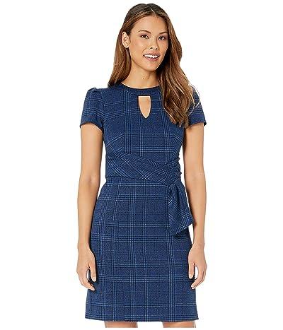 Nanette Lepore Monochrome Plaid Faux Belt Dress (Blue) Women