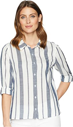 Coastal Stripe Button Top