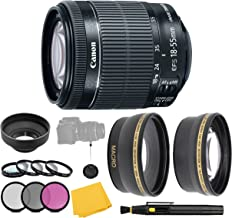 CanonEF-S 18-55mm f/3.5-5.6 IS STM Lens + Filter Set + Close Up Macro Filters + Wide Angle Lens + Telephoto Lens + Pro Accessory Bundle - 18-55mm STM: International Version (No Warranty)