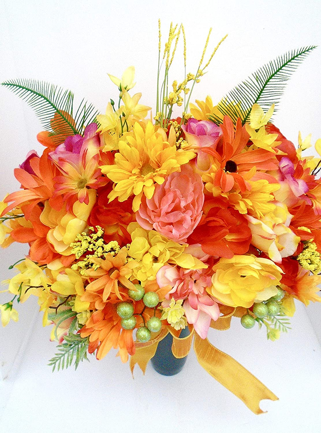 Amazing Cemetery Cone Deluxe Max 69% OFF featuring Yellow Orange Blooms and