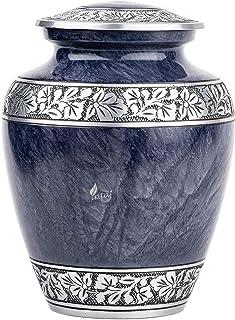 INTAJ Royal Silver Cremation Urn for Human Ashes - Adult Funeral Urn Handcrafted - Affordable Urn for Ashes - Large Urn De...