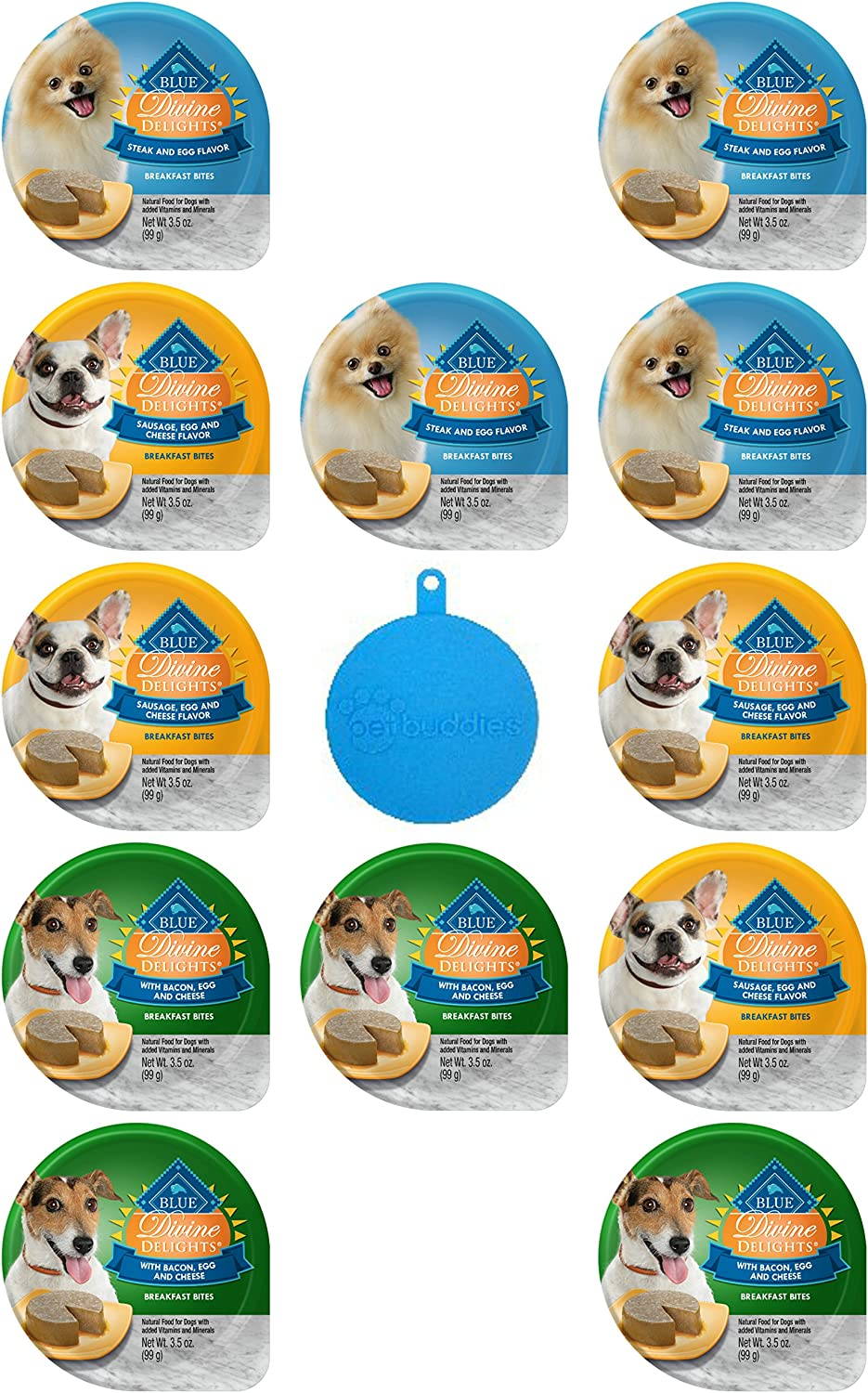 bluee Divine Delights Breakfast Bites for Dogs in 3 Flavors  Steak & Egg; Sausage, Egg & Cheese; and Bacon, Egg & Cheese  3.5 Oz Ea, 12 Cups Total  Plus Silicone Dog Food Can Cover  13 Items Total