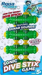Aqua Sonic Dive Sticks, 3 Piece Set, Toss, Dive & Retrieve, Pool and Bathtub Toy, Ages 5 and Up