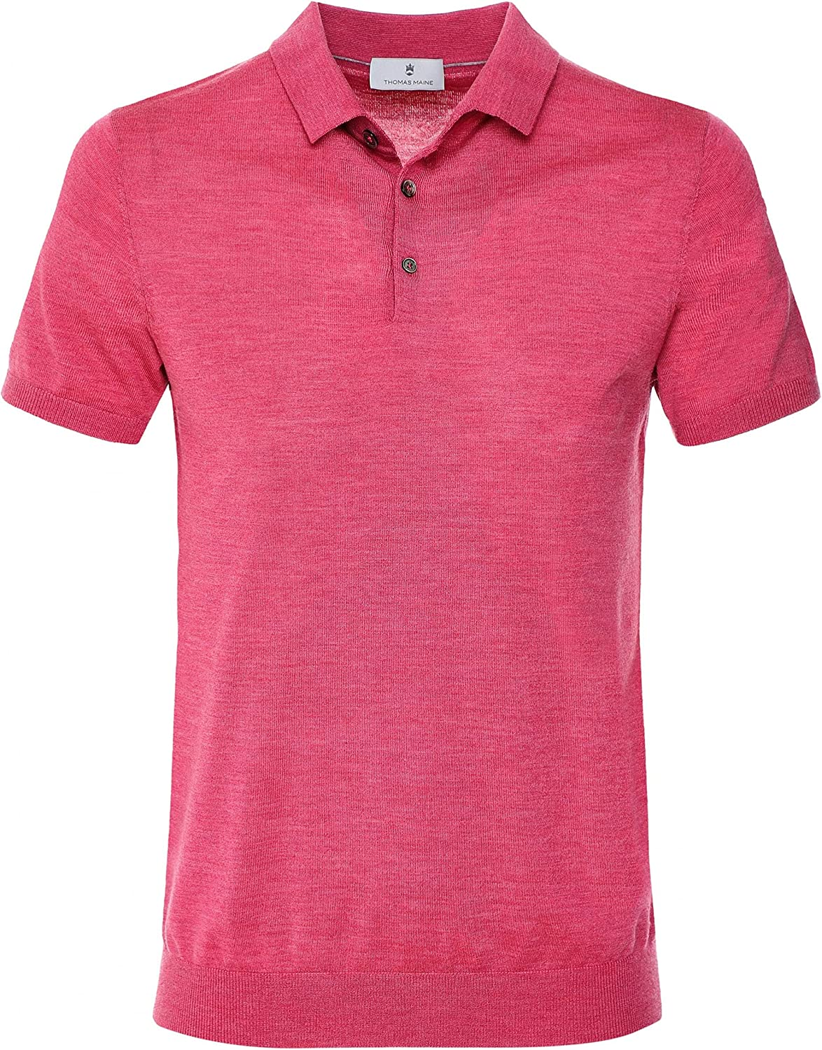 Thomas Maine Men's Merino Polo Wool NEW before selling Shirt OFFicial mail order Pink