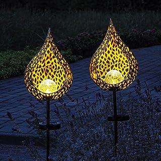 Gadgy Solarne lampy ogrodowe ze szpikulcami   Zestaw 2   LED Metalowa wtyczka ogrodowa   Dekoracja ogrodu na zewnątrz   Św...