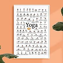 Yoga Poses Poster - Asanas - Modern Exercise & Chakra Yoga Spiritual Artwork, Reiki Infographic, Energy Healing Breathing Wall Art Chart 12x16