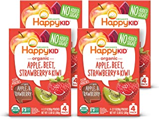 Happy Squeeze Organic Superfoods Twist Apple Beet Strawberry Kiwi, Organic Baby Toddler Kid Snack, Resealable, No Added Su...