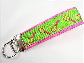 Tennis Ribbon Wristlet Key Fob Keychain Green Pink