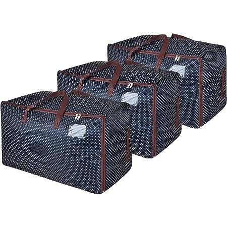 DOKEHOM 3 pièces 100L Sacs pour vêtements, étanche épais surdimensionnée Organiseur Sac de Rangement, Sac de Voyage (Bleu/3 pièces)