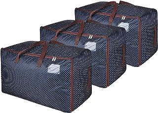 DOKEHOM 3 pièces 100L Sacs pour vêtements, étanche épais surdimensionnée Organiseur Sac de Rangement, Sac de Voyage (Bleu/...