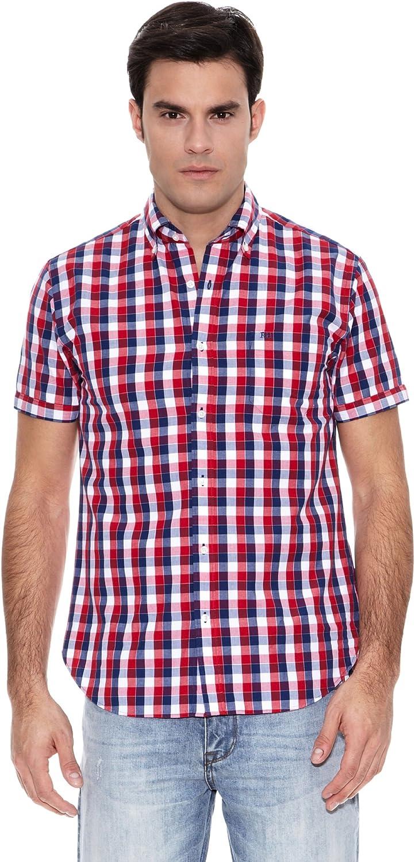 Pedro del Hierro Camisa M.Corta Mid Check Popelin Rojo XL ...