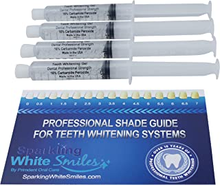 Professional Dental Strength 16% Teeth Whitening Gel. Includes 4 XL 10cc Syringes of Whitening Gel! FDA Approved! Made in USA!