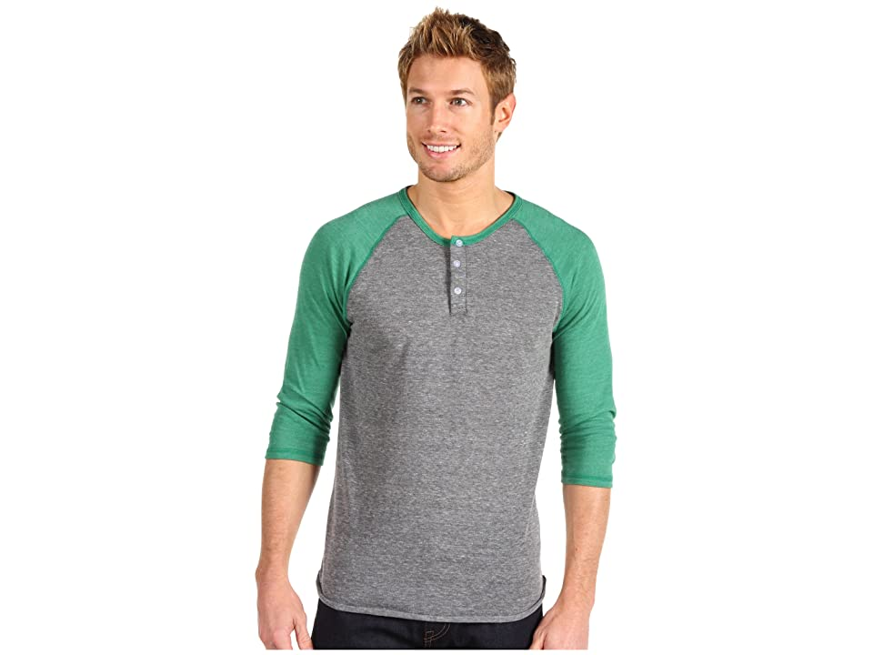 Alternative 3/4 Raglan Henley (Eco Grey/Eco True Green) Men