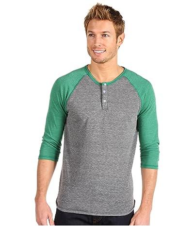 Alternative 3/4 Raglan Henley (Eco Grey/Eco True Green) Men