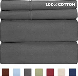 100% Cotton Sheets - Queen Size Cotton Sheets - 400 Thread Count Queen Size Sheets - Long Staple Queen Cotton - 400 TC Queen Sheet Set - Cotton Queen Bed Sheets Set - Pure Cotton - High Thread Count