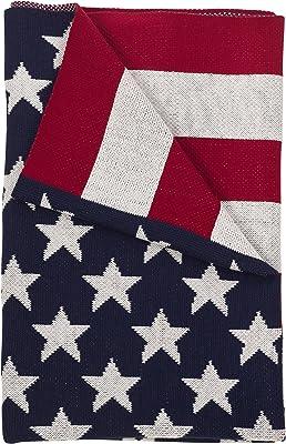 "SARO LIFESTYLE Patriotic US American Flag Throw Blanket 50"" x 60"" Multi"