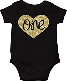 Baby Girls First Birthday Bodysuit Sparkly Gold One Inside Heart Design 1st  Birthday Outfit Girl f49454956