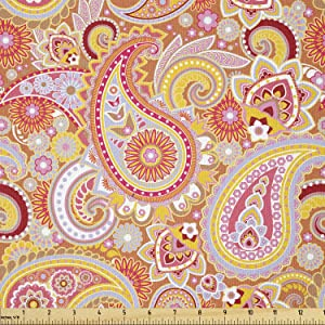 Ambesonne Orange Fabric by The Yard, Design Elements Traditional Paisley Floral Pattern Swirls Leaves Motif, Stretch Knit Fabric for Clothing Sewing and Arts Crafts, 2 Yards, Burnt Sienna
