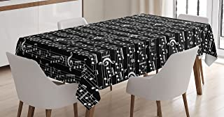 Ambesonne Music Tablecloth, Musical Notes and Clef Sheet Pattern in Abstract Style Print, Dining Room Kitchen Rectangular Table Cover, 60