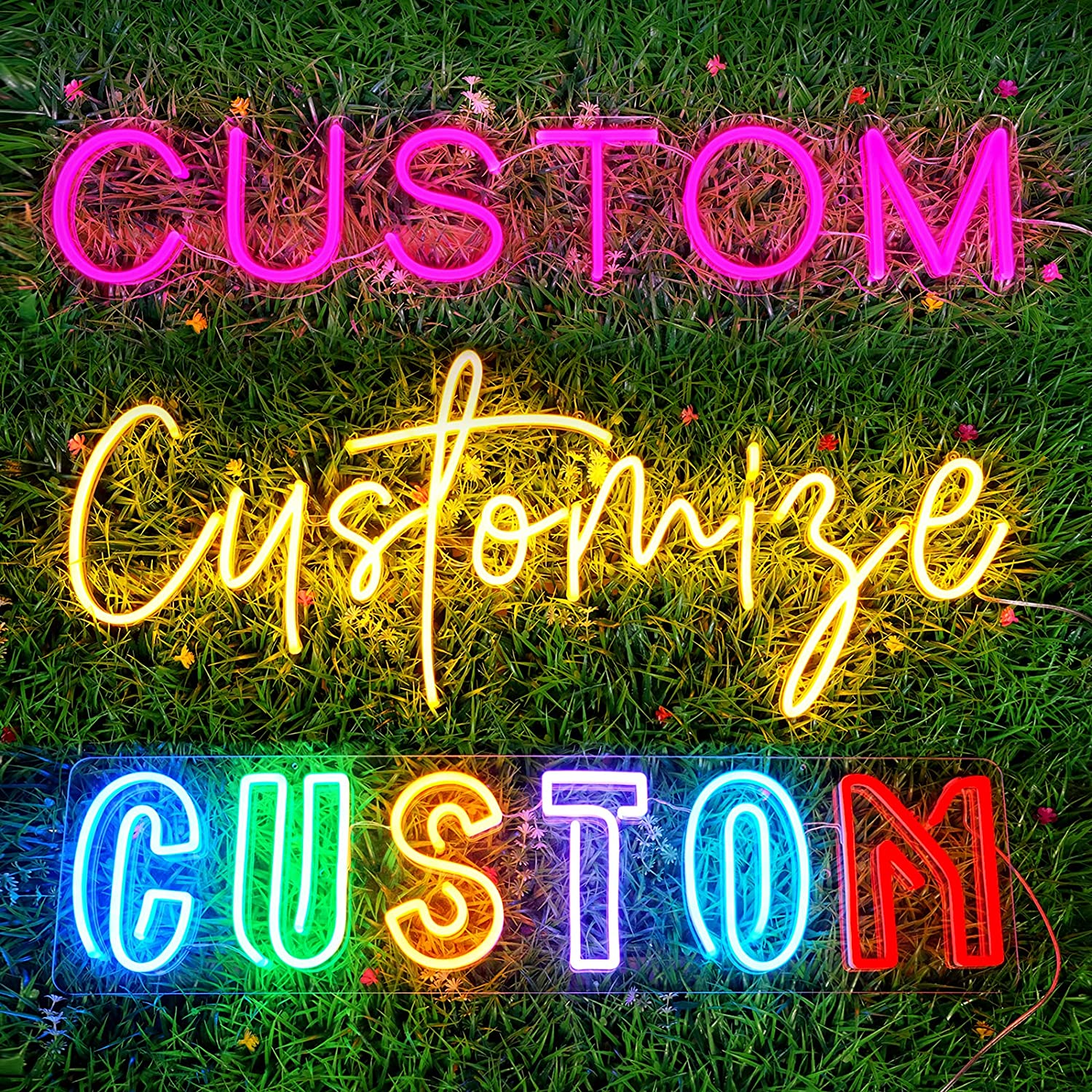 JadeToad Custom Neon Signs for Business Bar Grill Fitness Hair Nail Lounge Beauty Salon Logo Personalized Dimmable LED Light Sign Anniversary Party Home Wall Decor (2 Lines Text, 30