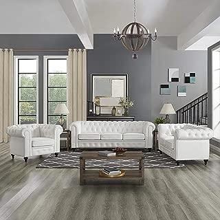 Naomi Home 3 Piece Emery Chesterfield Sofa Set White