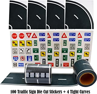 "Fun Road Tape for Toy Cars, 2 Rolls of 33'x2.4"", Bonus 100 Die Cut Traffic Sign Stickers and 4 Curves, Perfect to Keep Your Kids Away from Screens, Develop Their Imagination and Memory, Play and Learn"