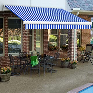 Awntech 8-Feet Maui-LX Manual Retractable Acrylic Awning, 84-Inch Projection, Blue/White