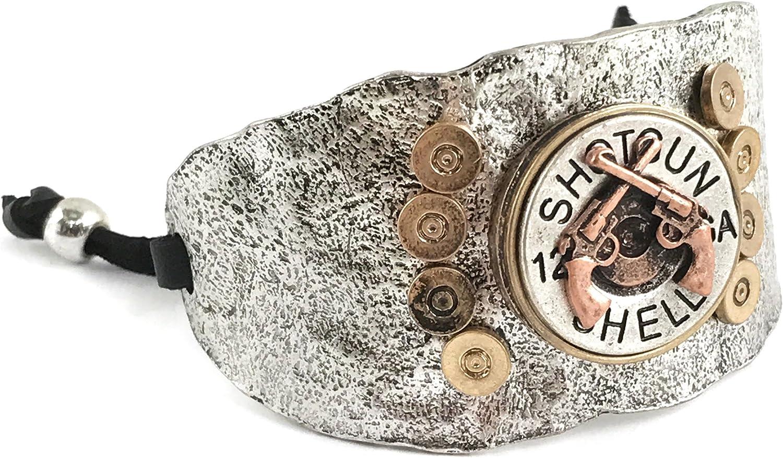 Western Collection Double Pistol Gun 12 Gauge Shotgun Bullet Shell Leather Cuff Bracelet